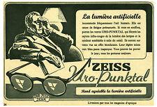 """Publicité  Ancienne """" Verres de Lunettes Uro-punktal Zeiss  1941 """"  ( P 24 )"""