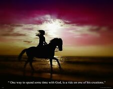 Religious Motivational Poster Art Print Horse Riding Western  Cowgirl God RELG08
