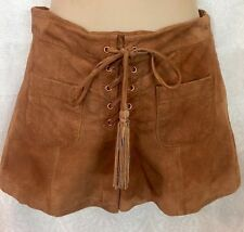 Intermix Shorts Brown Leather Lace Up Front Size 0