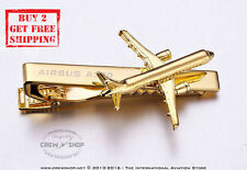 A Brand New AIRBUS A320 18k Gold Plated Necktie Airline Tie Bar Clasp Clips
