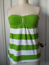 Hollister Babydoll Tube Top Lime Green/White Stripe XS NWT LAST ONE!