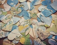 Heart Map/Atlas Paper Confetti - Rustic Table Decorations