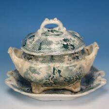 Staffordshire Historical Green Transferware Napoleon Battles 3 Pc Sauce Tureen