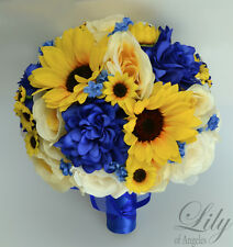 17 Piece Package Silk Flower Wedding Bridal Bouquet ROYAL DARK BLUE YELLOW IVORY