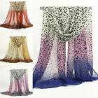 Women Ladies Leopard Long Soft Wrap Shawl Chiffon Scarf Wraps Scarves New 69