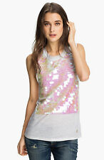 JUICY COUTURE WHITE SPANGLE PAILLETTE TANK SHIRT ORG. $128.00 SIZE MEDIUM BNWT