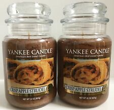 Yankee Candle CRISP APPLE STRUDEL 22oz Jar Lot of 2 My Favorite Things