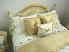 GORGEOUS 3 Pc BED SET Gold & Ivory by Lorraine Scuderi Dollhouse Miniature