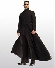 Matrix Neo Keanu Reeves Black Gothic Woolen Trench Coat Full Length Long Jacket