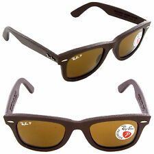New Ray-Ban RB2140QM 1153/N6 Wayfarer Brown Leather  Polarized Neophan Brown