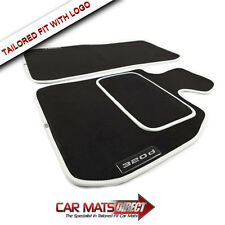 BMW 3 Series Saloon F30 320d 12-ON Tailored Car Floor Mats White Trim + Logos
