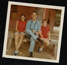Vintage Photograph Dad and Two Girls Sitting on Bench With Old Time Cameras