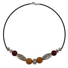 Pearlz Ocean Beauty Turq Yellow & Red Agate 18 Inch Choker Necklace