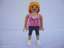 PLAYMOBIL femme rose cheveux long blond NEUF Ref.21