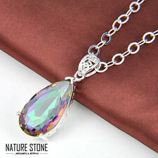 Royal Style Natural Rainbow Mystical Topaz Silver Necklace Pendant