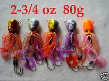 5 pcs Thunder Jigs Each 2.75oz /80g Octopus Saltwater Fishing Lures- 5 Colors