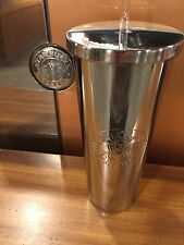 STARBUCKS Silver Stainless Steel Cold Cup High Shine TUMBLER 24 fl oz NEW 2017!