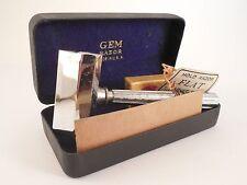 Antique Gem 1912 Micromatic Shaving Razor w/ Tag Case & Unused Razors