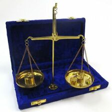 Scale Set in Velvet Box, Solid Brass Antique Style