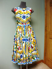 Dolce & Gabbana AUTH NWT Sleeveless Full Skirt Maiolica Tile Poplin Dress 42