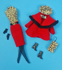 """BARBIE CITY SEASONS WINTER ~ Fashion Royalty Red Coat Skirt Muff 12"""" Doll Outfit"""