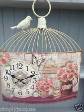 Shabby Vintage Chic Style Cream Birdcage, Home Sweet Home Roses, Wall Clock.