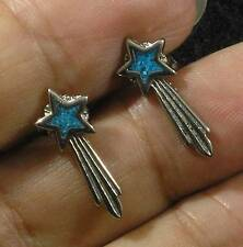 Turquoise Silver Plated Lead Free Pewter Shooting Star Post Stud Earrings