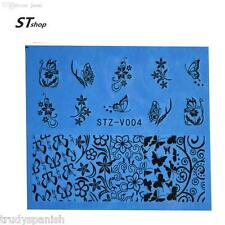 Nail Art Water Transfers Stickers Decals Black Flowers Butterflies Gel Polish 04