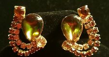 Vintage Hobe olive green and amber topaz yellow rhinestone clip earrings