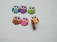 10pc 18mm Painted Owl Wooden Bead 0287