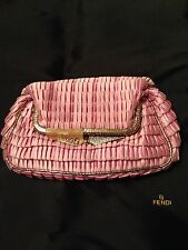 FENDI Kiss Lock Pink Ruffle Satin Rhinestone Evening bag clucth