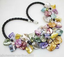 """new fashion jewelry lady Multi-Color of pearl shell flower necklace 18""""long"""