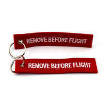 2 pcs red&w Embroidered Remove Before Flight  Keyring / Keychain / Luggage Tag