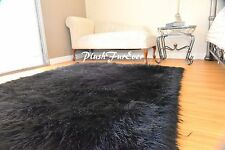 "48"" x 60"" Black Mongolian Faux Fur Area Rug Fake Fur Rectangle Sheepskin Plush"