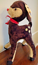 Vintage 1950's Large 3 Ft Tall Plush SANTA's Reindeer RUDOLPH - B J Toy Co - USA