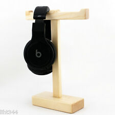 Solid Wooden Twin Headphone Display Holder Stand for Universal Headphone Headset