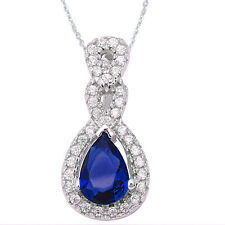 Round & Pear Shape Sapphire Fashion .925 Sterling Silver Pendant