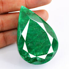 285.35 CTS NATURAL RICH GREEN EMERALD FACETED PEAR SHAPED MUSEUM SIZE GEMSTONE