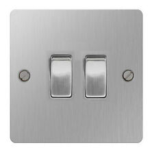 British General SBS42 Brushed Stainless Steel Light Switch 2 Gang, 2 Way
