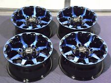 "14"" POLARIS RZR XP1000 STI HD6 RADIANT BLUE & BLACK ATV WHEELS NEW SET 4"