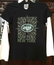 New York Jets Girls NFL Youth Shirt Size 8/10 Raglan Long Sleeve