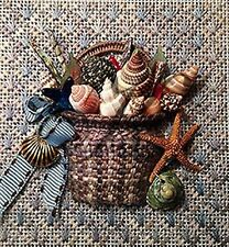Needlepoint Handpainted KELLY CLARK Shell Basket KIT w/STITCH Guide