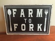 FARM TO FORK Farmhouse Chic Country Kitchen Wall Decor Plaque Framed Fixer Upper