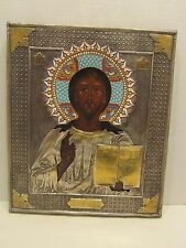 Russian 19 century Antique Silver Enamel Icon of Christ Pantocrator, Ovchinnikov