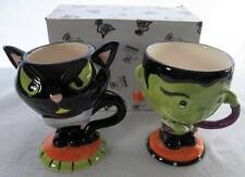NEW 2 Pc Halloween Footed Mug Set Frankenstein Monster Black Cat