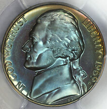 1969-S Jefferson Nickel PCGS PR67! PF67 SMS Monster Rainbow Color Toned L18