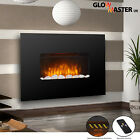 COMPACT WALL MOUNTED ELECTRIC LIVING FLICKER FLAME BLACK GLASS CANTERBURY FIRE