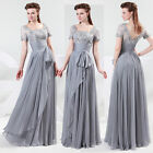 Chic Retro Short sleeve Lace chiffon Evening Dress Long Pageant Formal Prom Gown