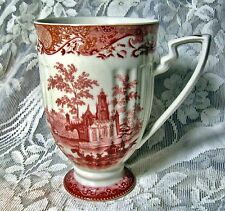 BIG TRANSFERWARE MUG ON A PEDESTAL BASE ~ RED CASTLE SCENE TOILE ~ 22 Ounces!