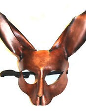 Copper  Rabbit Bunny Mask Handmade Leather Venetian Masquerade